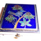NICE COLLECTIBLE ENAMELED/CLOISONNE PILL BOX....TREE WITH BIRD-BLUE BACKGROUND