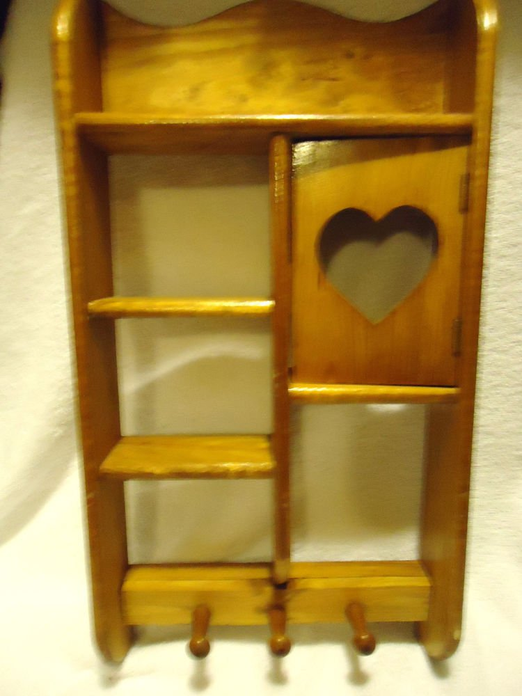 "VINTAGE ALL WOOD WALL SHELF WITH HEART CUT OUT & HANGING KNOBS..18""X9""...."