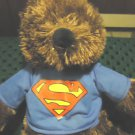 "SUPERMAN PLUSH BROWN BEAR DC COMICS...KELLYTOY....APPROX 15"" TALL...BLUE SHIRT"