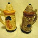 CERAMIC BEER STEIN SALT & PEPPER SHAKERS...VINTAGE....GREAT DETAIL