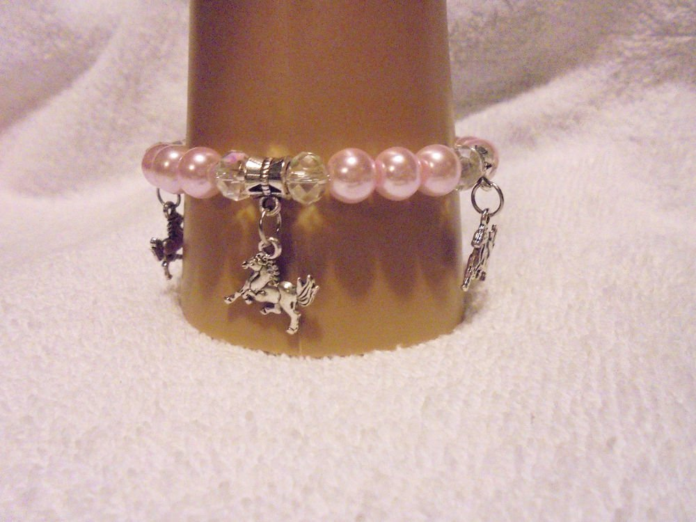 SOFT PINK PEARL/CRYSTALS CHARM BRACELET WITH  3 HORSE CHARMS-EXPANDABLE