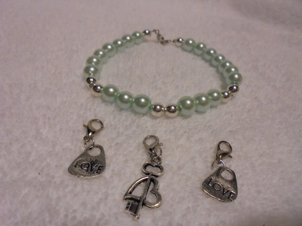 LIGHT BLUE  BEADED  BRACELET WITH LOVE CHARMS OR USE WITHOUT CHARMS...8""