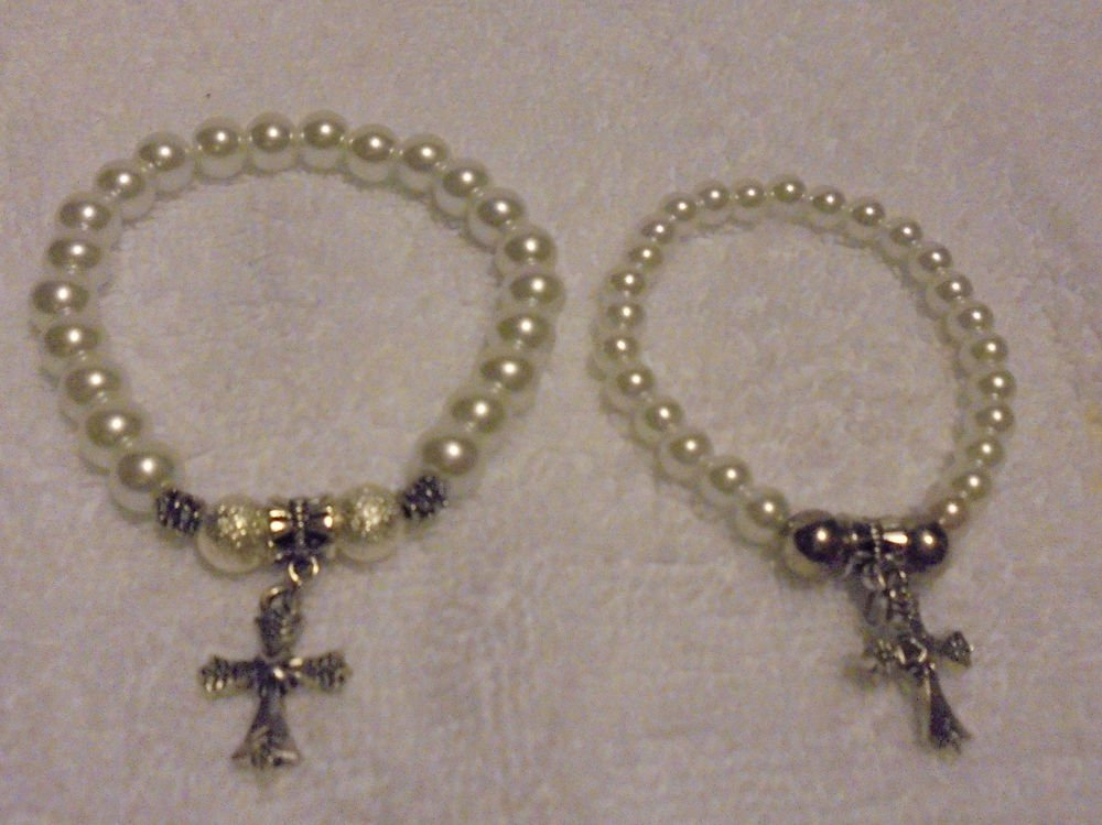 BRIGHT WHITE-- MOTHER & DAUGHTER OF STRETCH BEADED BRACELETS WITH CROSS CHARMS
