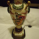 PAIR OF VINTAGE HAND PAINTED CHARACTER GILDED ORIENTAL/ASIAN TABLE LAMPS..23""