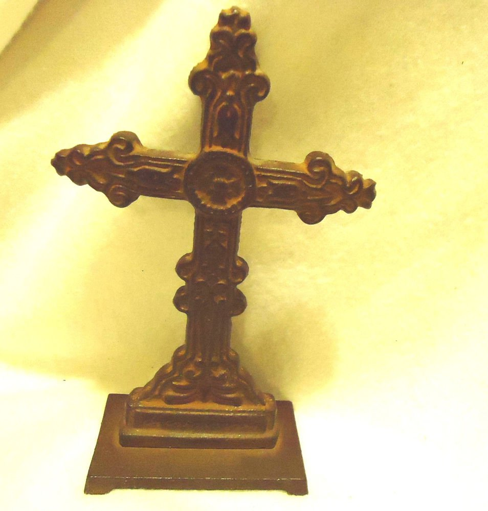 "ANTIQUE SOLID CAST IRON STANDING CROSS...UNIQUE DESIGN...APPROX 7"" TALL"