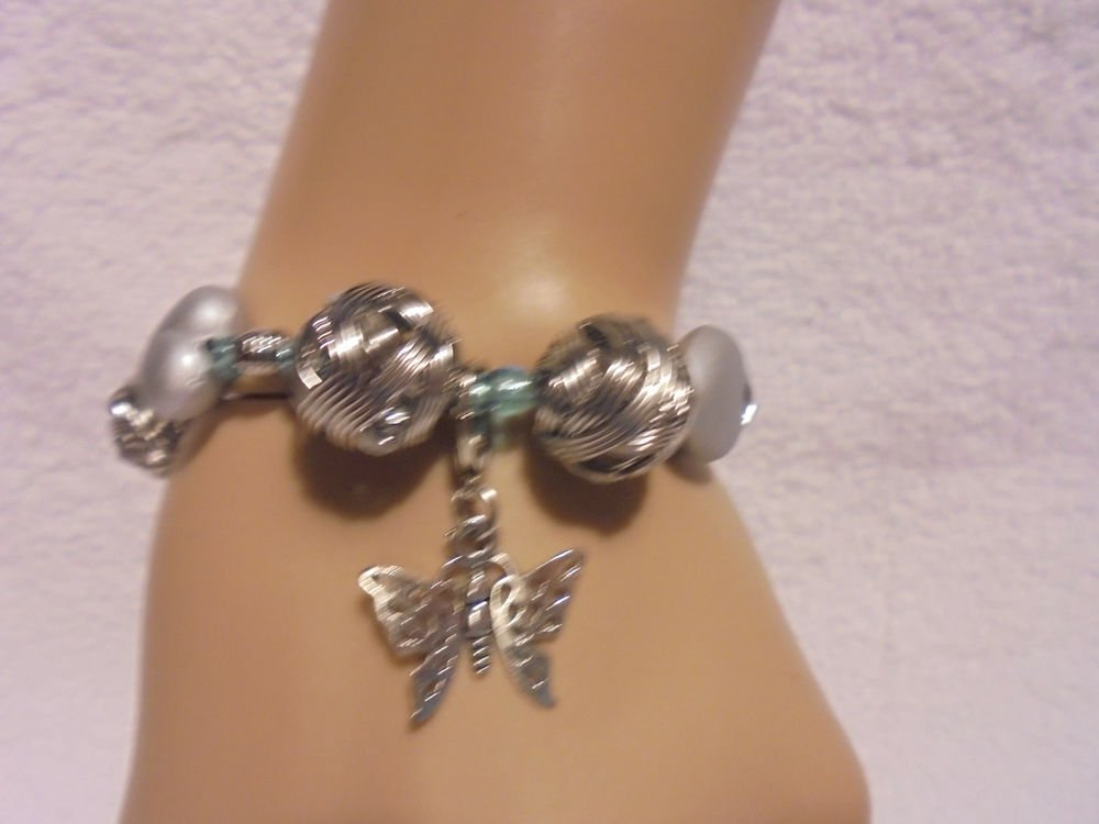 SILVER/BLUE  BALL/HEARTS BEADED BRACELET WITH BUTTERFLY CHARM...UNIQUE..STRETCH