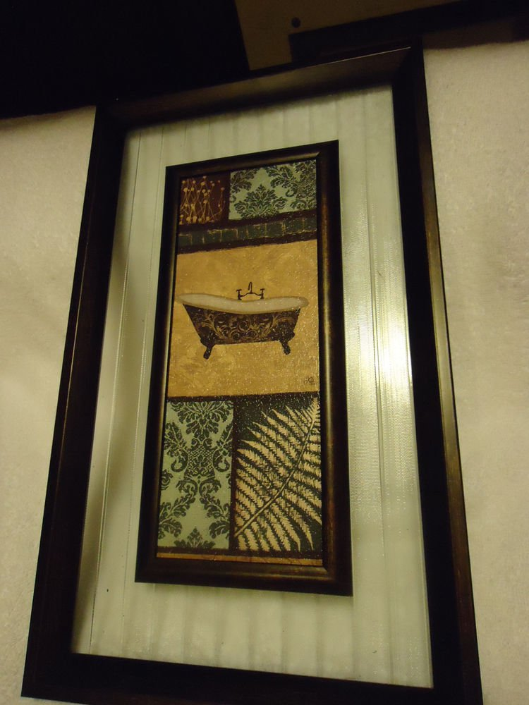 """UNIQUE HANGING WALL PLAQUE..WOOD/GLASS/SCENERY--9"""" X 15""""..OLD TUB...GREAT DECOR"""