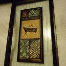 "UNIQUE HANGING WALL PLAQUE..WOOD/GLASS/SCENERY--9"" X 15""..OLD TUB...GREAT DECOR"