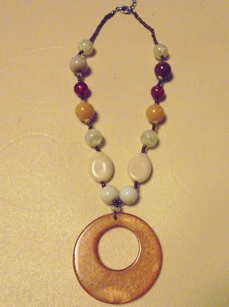 """NICE EARTHTONE BEADED  NECKLACE...APPROX 22""""..ALSO HAS EXTENDER"""