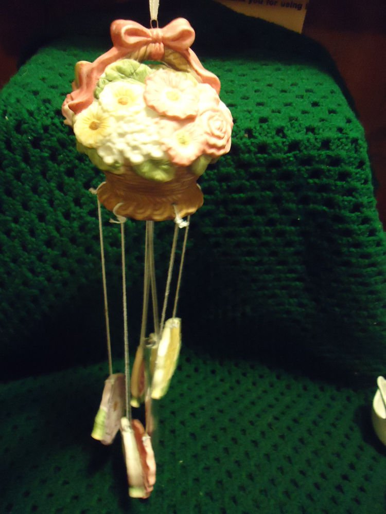 """BEAUTIFUL CERAMIC COLORFUL FLORAL WINDCHIME!!!!! APPROX 16"""" TALL...MUST SEE"""