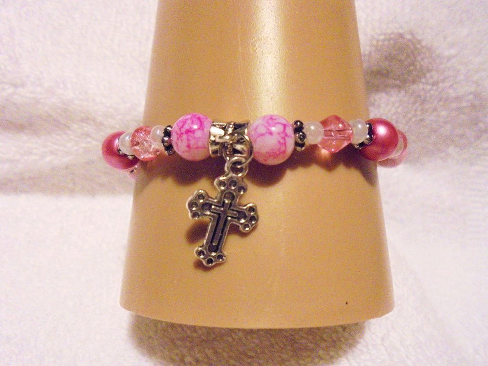 MULTI PINKS PEARL BRACELET WITH COMFORT CROSS CHARM...EXPANDABLE