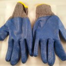 16 Pairs All Purpose  Premium Gray Cotton Blue Latex Palm Work Gloves