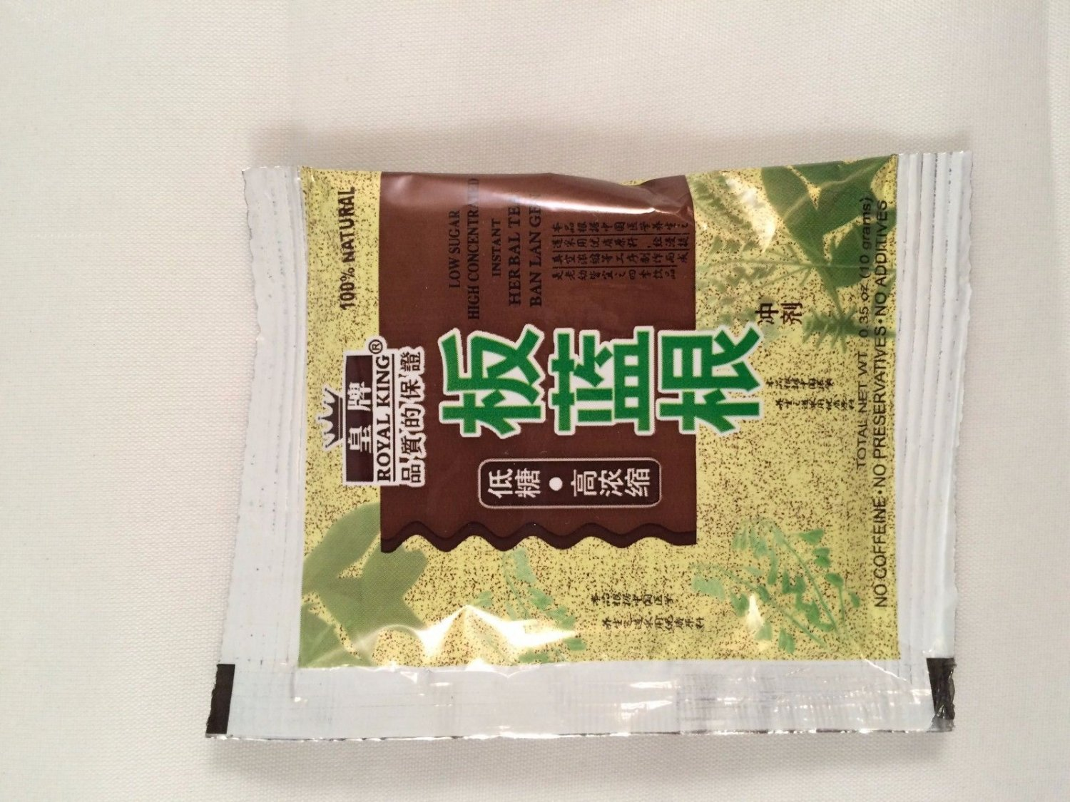Royal king Instant Herbal Tea Ban Lan Gen 3.5 Oz/30 bags NEW