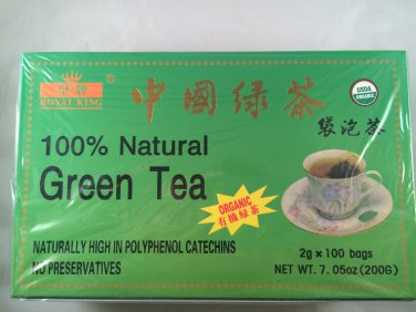 Royal King 100% Natural Organic Green Tea 100 Tea Bags