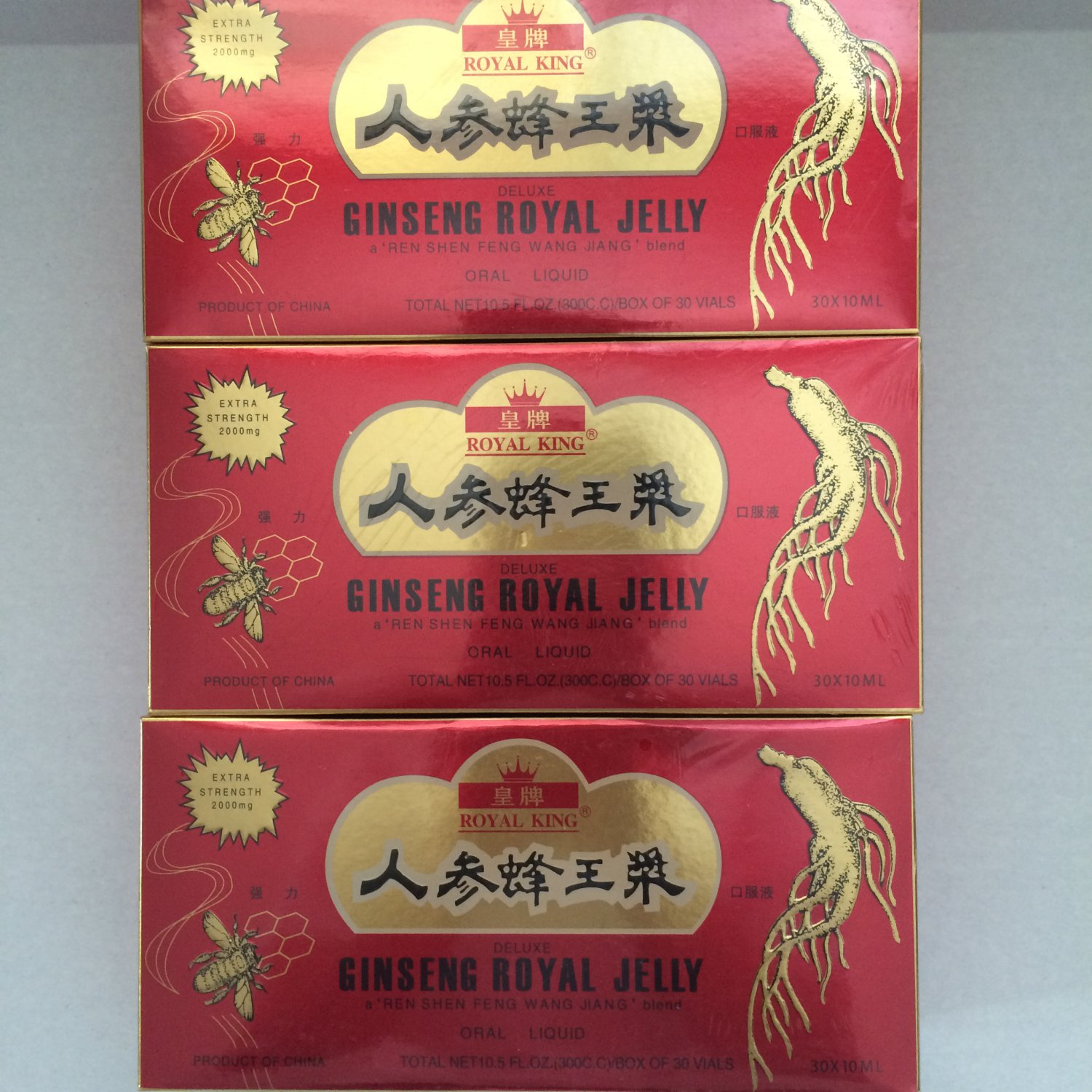 Royal King Deluxe Ginseng Royal Jelly Oral Liquid 90 Vials(bottle) 3 Box