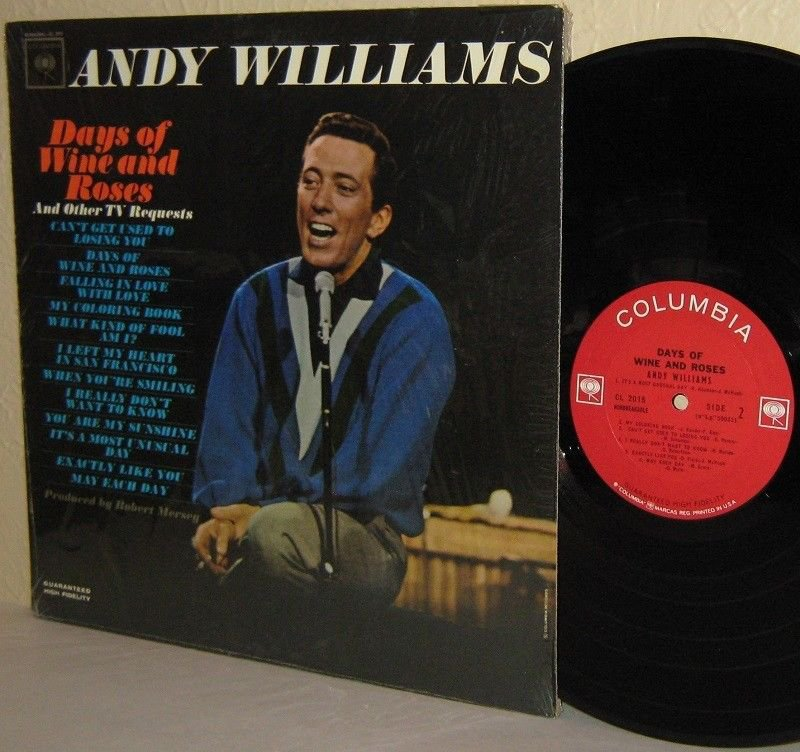 60's ANDY WILLIAMS LP Days Of Wine And Roses M-/VG+ in Shrink 2 Logos Mono