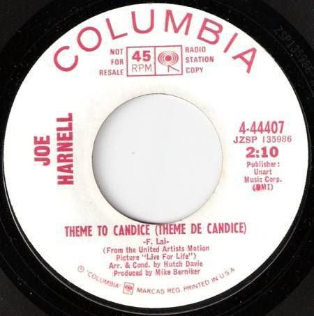 1967JOE HARNELL 45 Theme To Candice / Spanish Eyes White Label Promo WLP M-