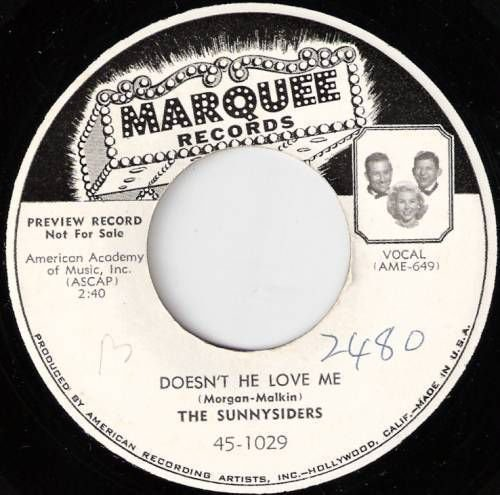 1956 SUNNYSIDERS 45 Doesn't He Love Me CUSTOM LBL Promo