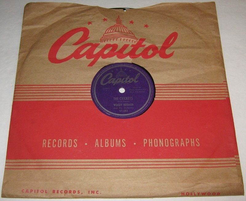 1949 WOODY HERMAN & His Orch 78 rpm The Crickets / More Moon Capitol 57-682