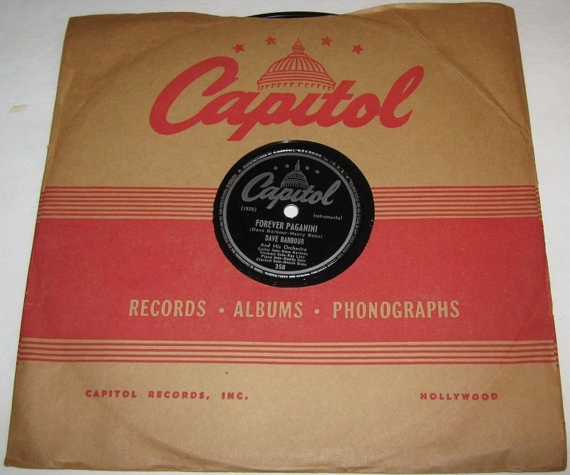 1947  DAVE BARBOUR 78 rpm Forever Paganini / Forever Nicky Capitol 358