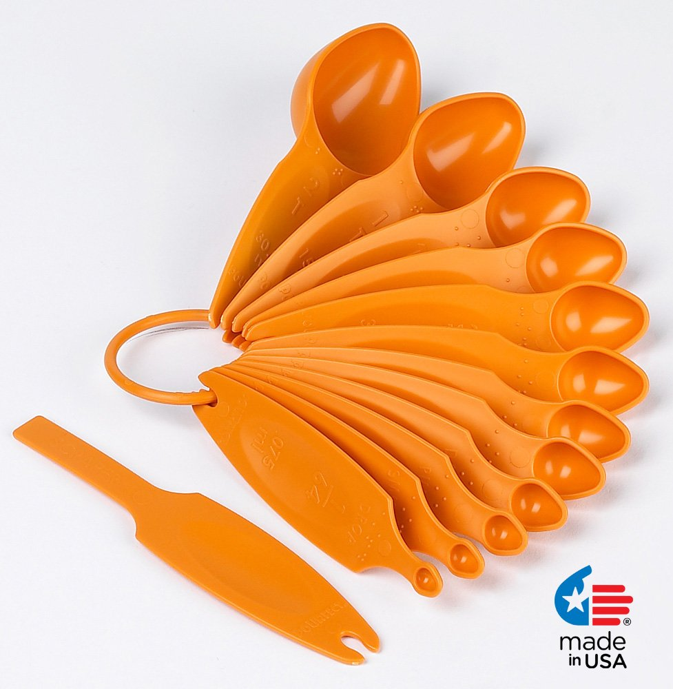 POURfect 13pc Measuring Spoon Set Tangerine Made in USA
