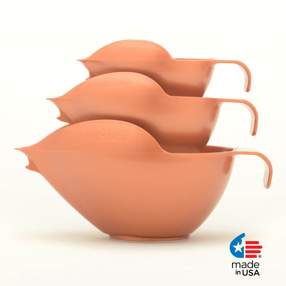 POURfect Mixing Bowls 3pc Prep Set 1005 - 1-2-4 Cup Satin Copper Made in USA