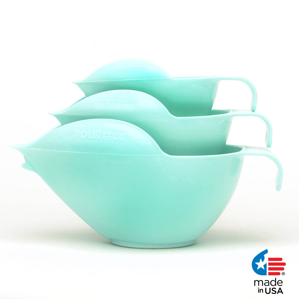 POURfect Mixing Bowls 3pc Prep Set 1005 - 1-2-4 Cup Ice Blue Made in USA