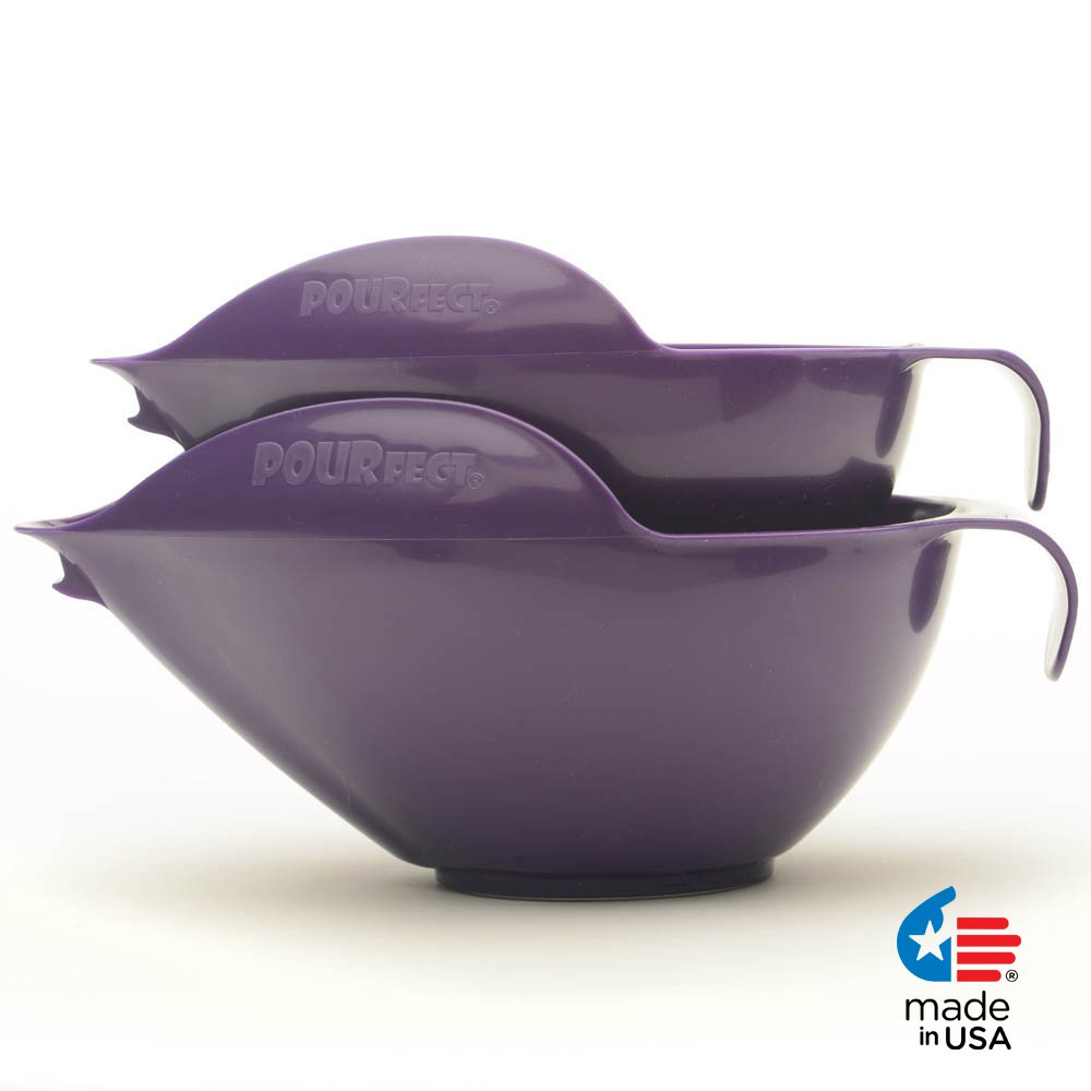 POURfect Mixing Bowls 1010 - 6 & 8 Cups Dark Plum/Purple Made in USA