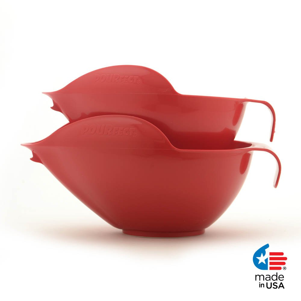 POURfect Mixing Bowls 1010 - 6 & 8 Cups Empire Red Made in USA