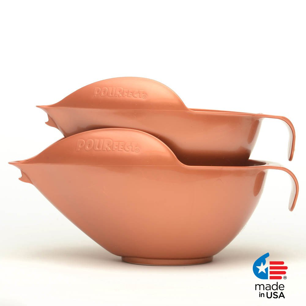 POURfect Mixing Bowls 1010 - 6 & 8 Cups Satin Copper Made in USA