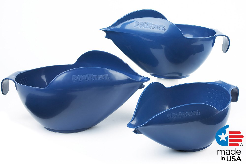 POURfect Mixing Bowls 1012 - 6-8-12 Cup Bowl Set Blue Willow Made in USA