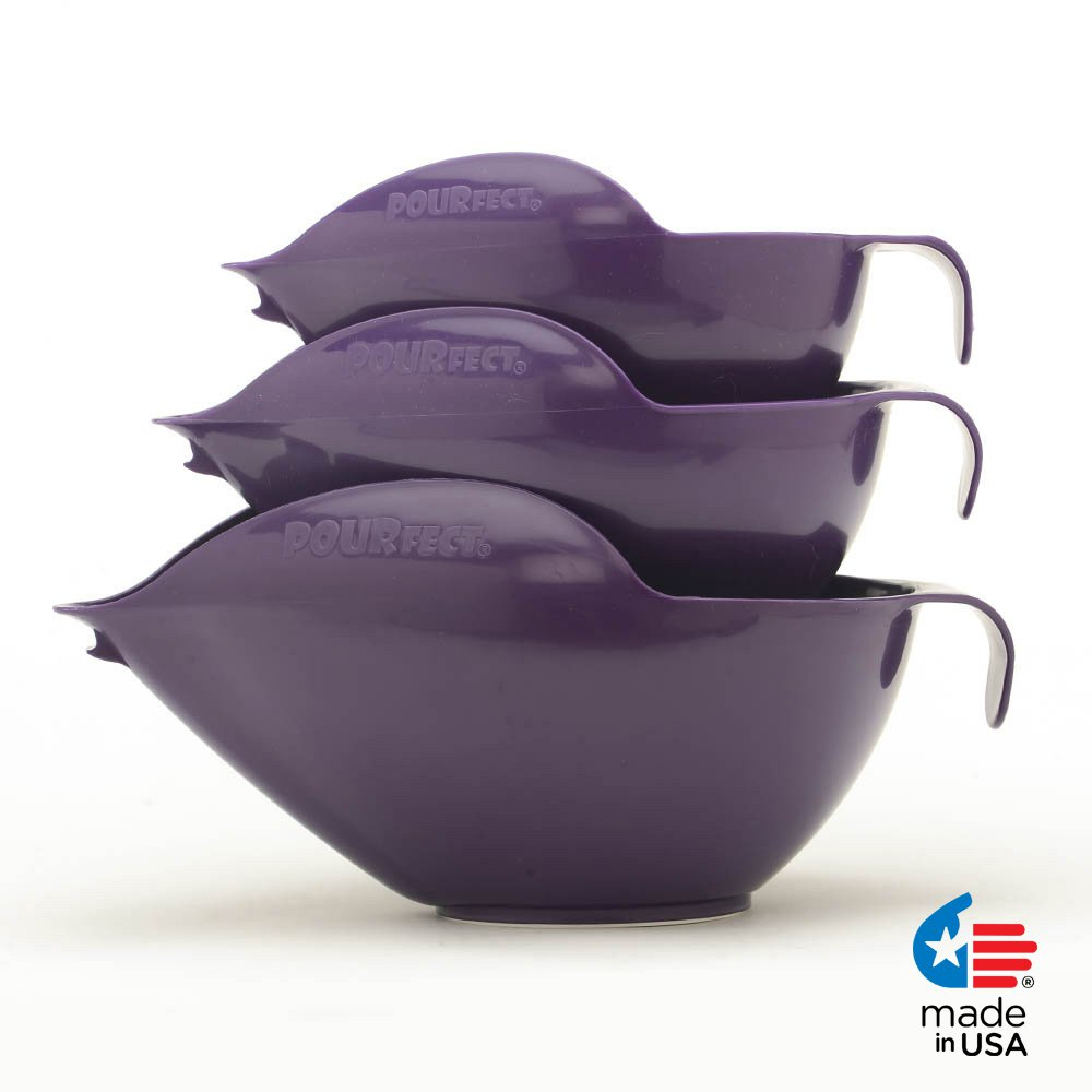 POURfect Mixing Bowls 1012 - 6-8-12 Cup Bowl Set Dark Plum/Purple Made in USA