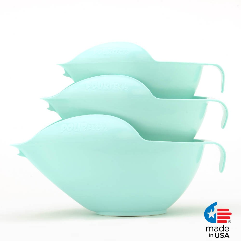 POURfect Mixing Bowls 1012 - 6-8-12 Cup Bowl Set Ice Blue Made in USA