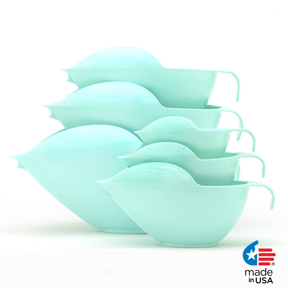 POURfect Mixing Bowls 1015 - 1-2-4-6-8-12 Cup Bowl Set Ice Blue Made in USA