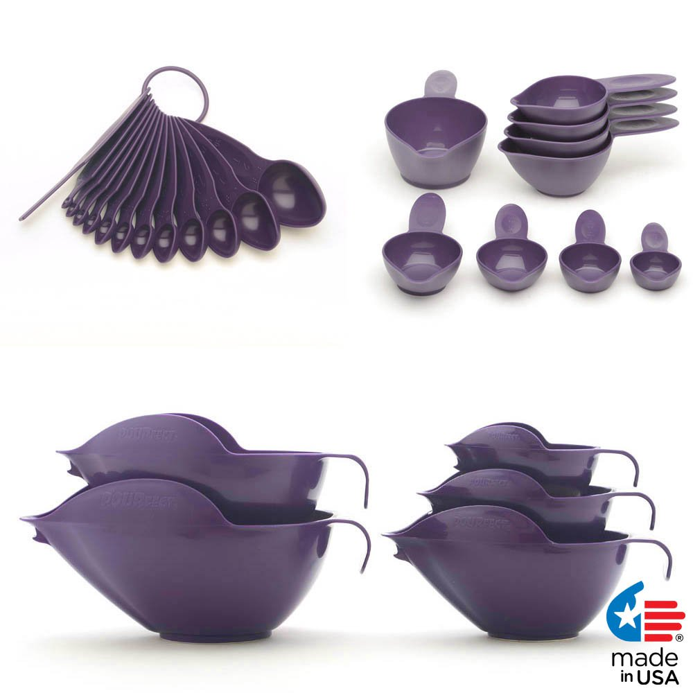 POURfect Mixing Bowls, Measuring Spoons, Measuring Cups Dark Plum/Purple Made in USA