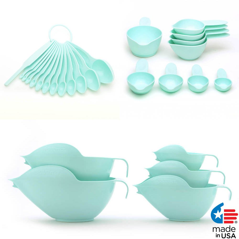 POURfect Mixing Bowls, Measuring Spoons, Measuring Cups Ice Blue Made in USA