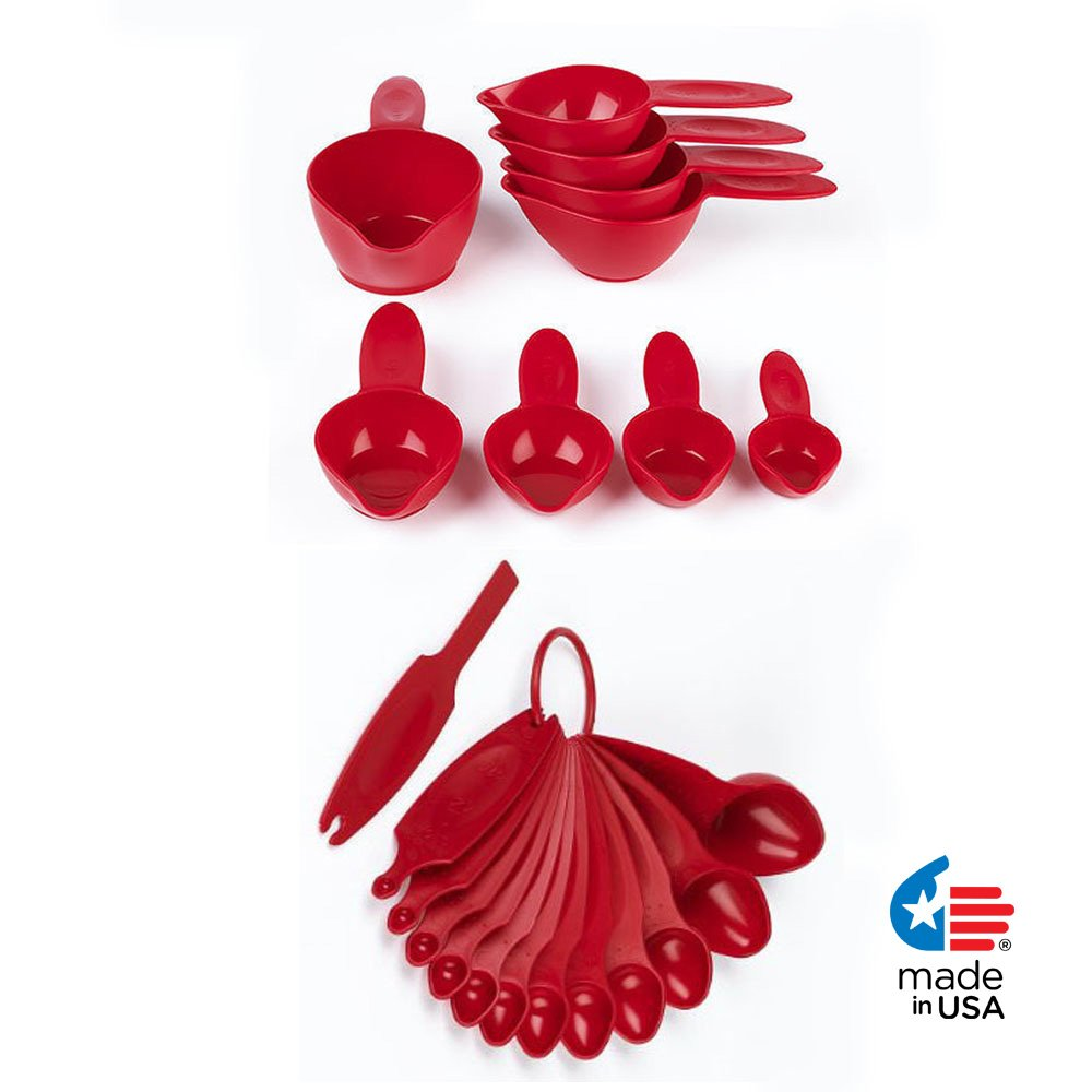 POURfect 22pc Measuring Cups & Spoons Empire Red Made in USA
