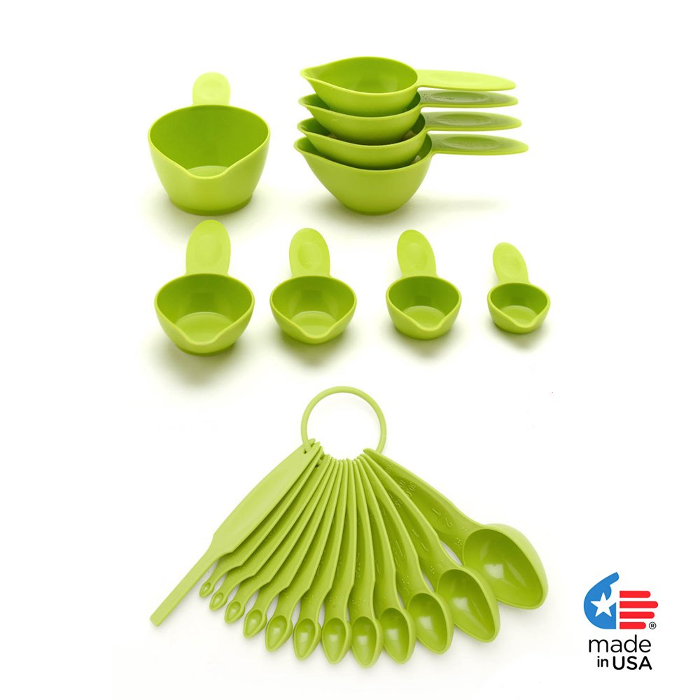 POURfect 22pc Measuring Cups & Spoons Green Apple Made in USA
