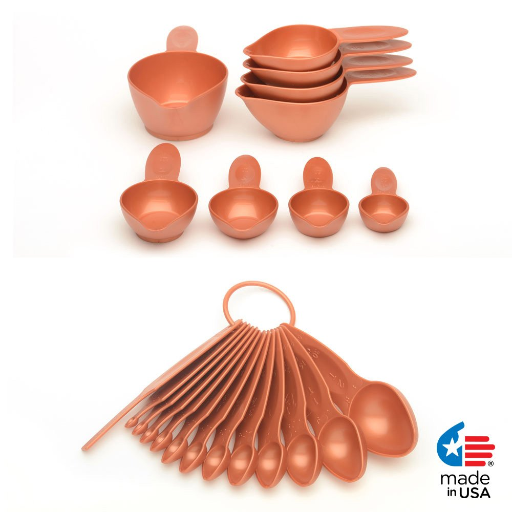 POURfect 22pc Measuring Cups & Spoons Satin Copper Made in USA