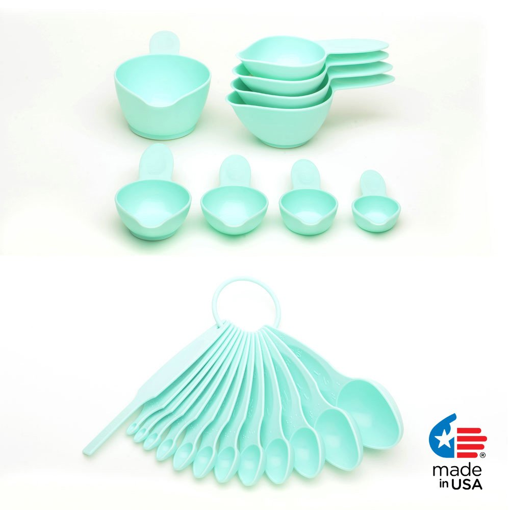 POURfect 22pc Measuring Cups & Spoons Ice Blue Made in USA