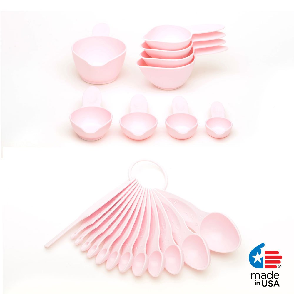 POURfect 22pc Measuring Cups & Spoons Pink Made in USA