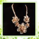 J6  Handmade Chunky Mother of Peach Flowers Choker + earrings