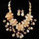 J8  Handmade Chunky Jewelry Mother of Pearl MOP Peach 5-Petals Flowers Choker + earrings