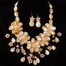 J8  Handmade Chunky Jewelry Mother of Pearl MOP Peach 5-Petals Flowers Choker + earrings