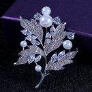 J12  Elegant Sparkle Mother of Pearl Crystal Brooch Pin
