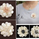 J16  Handcrafted Mother of Pearl Daisy Flower Brooch Pin