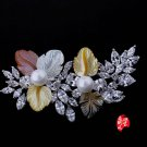 J23  AA+ Mother of Pearl Crystal Leaves Brooch Pin