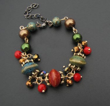 J28  Tribal Bohemia Ceramics Beads Crystal Retro Bracelet