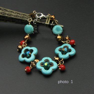 J29  Handcrafted Tribal Bohemia Turquoise Crystal Retro Bracelet