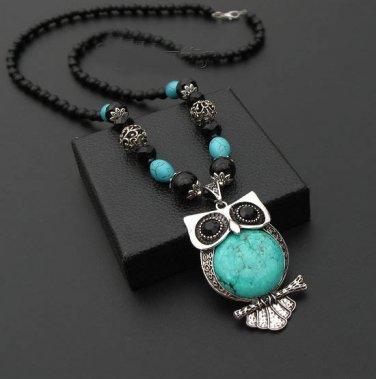 J31  Retro Stylish Turquoise Stone OWL Necklace Choker